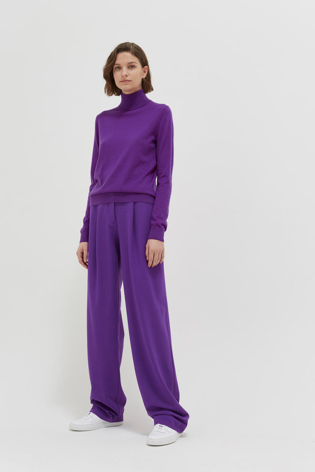 Purple Rollneck Cashmere Pop Sweater image 3
