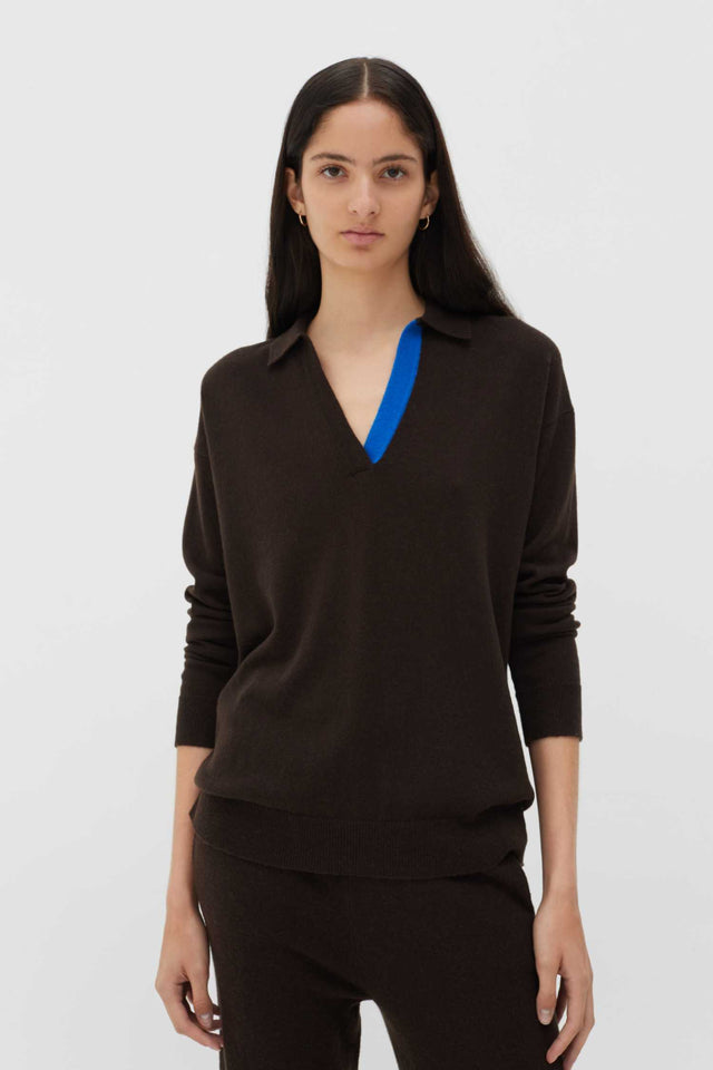 Chocolate Wool-Cashmere Collared Sweater image 2