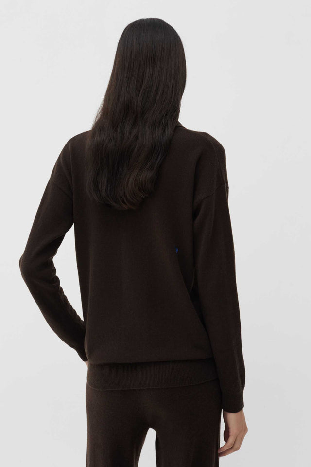 Chocolate Wool-Cashmere Collared Sweater image 4