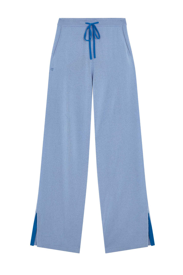 Sky-Blue Side Split Wool-Cashmere Track Pants image 2