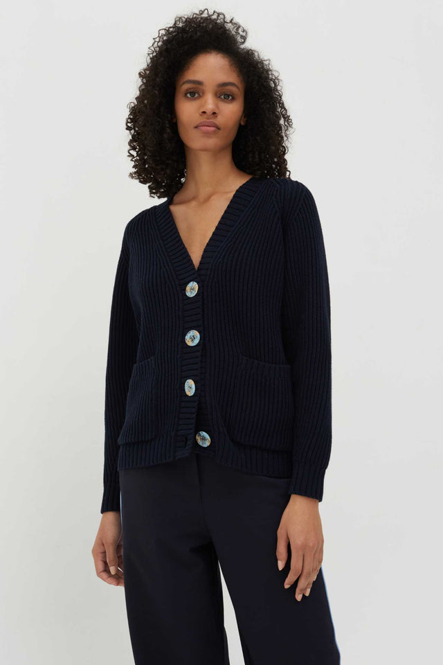 Navy Marble Button Rib-Knit Cotton Cardigan image 1