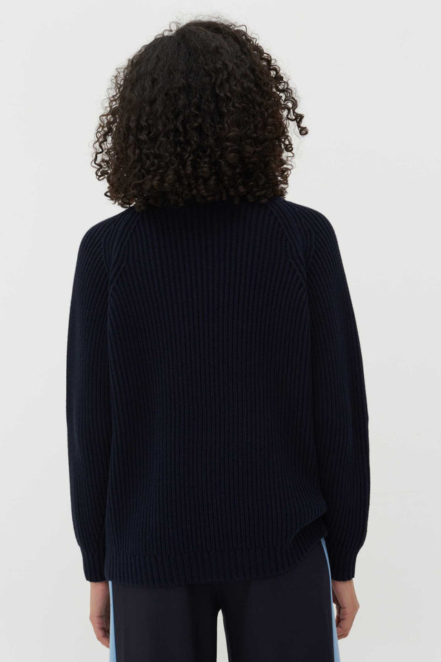 Navy Marble Button Rib-Knit Cotton Cardigan image 3