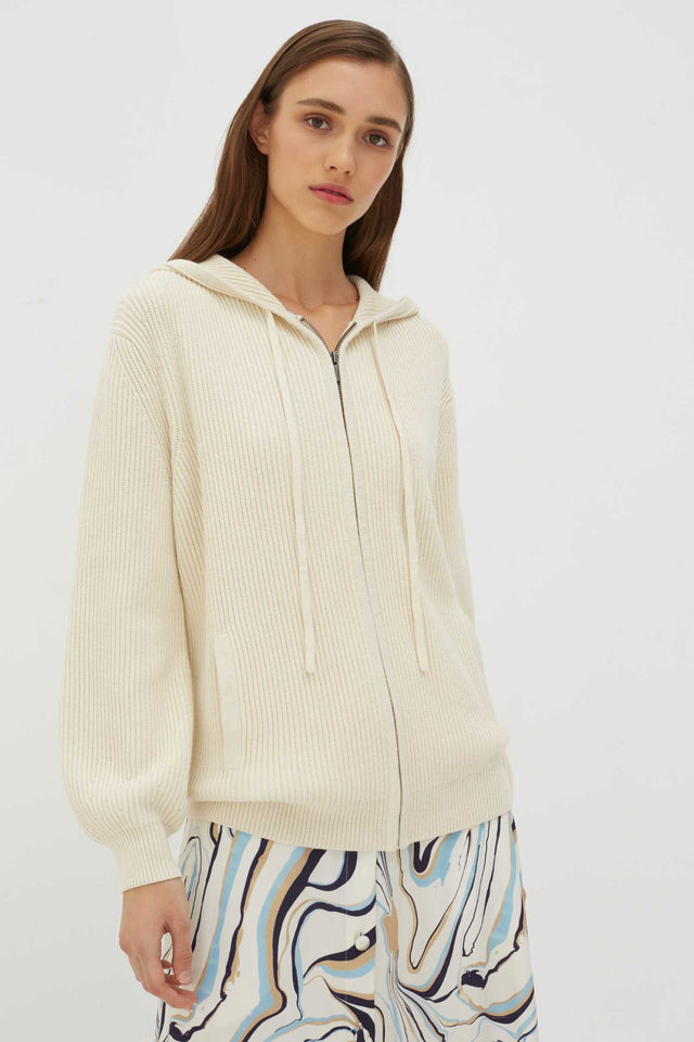 Cream Rib-Knit Cotton-Cashmere Hoodie image 1