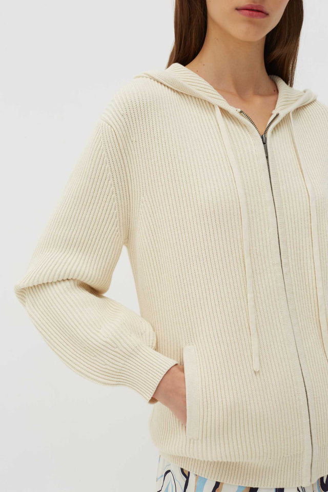 Cream Rib-Knit Cotton-Cashmere Hoodie image 4