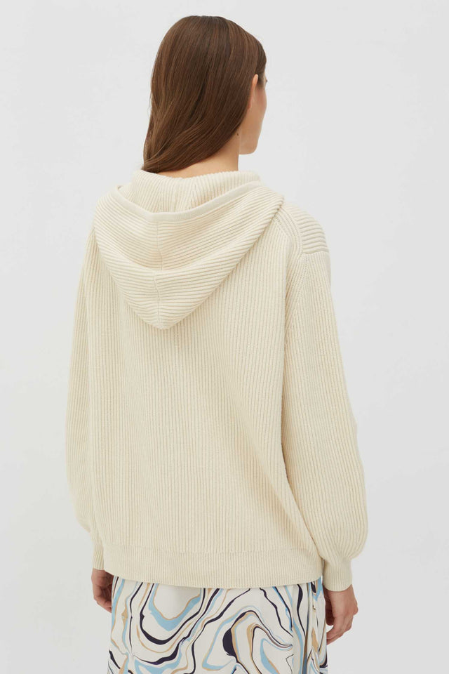 Cream Rib-Knit Cotton-Cashmere Hoodie image 3