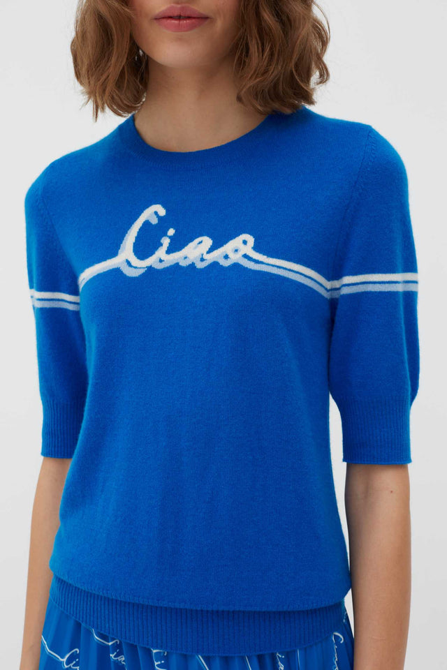 Royal-Blue Ciao Cashmere Tee image 4