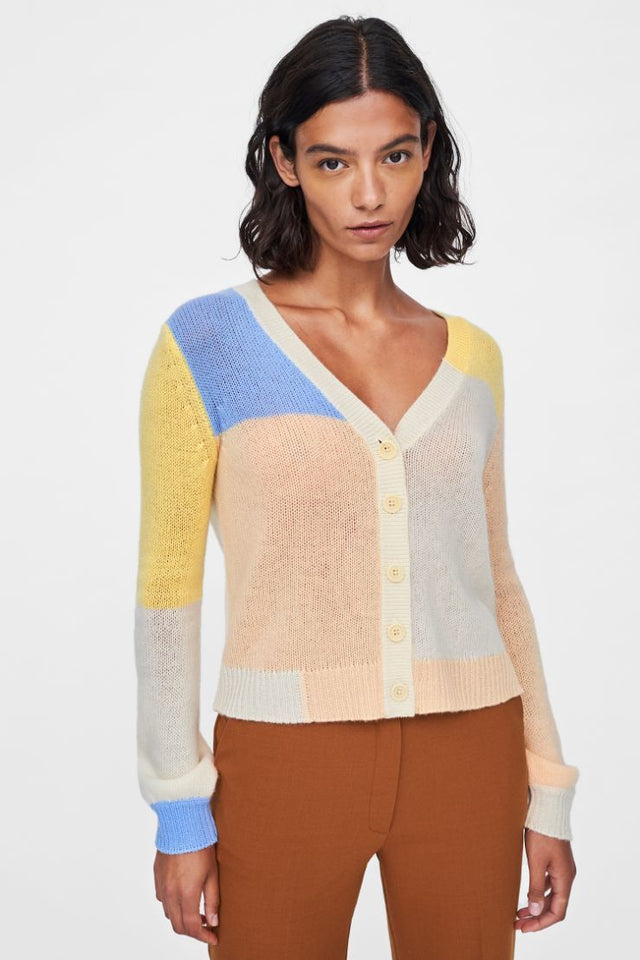 Cream Colour Block Mohair-Wool Cardigan image 1