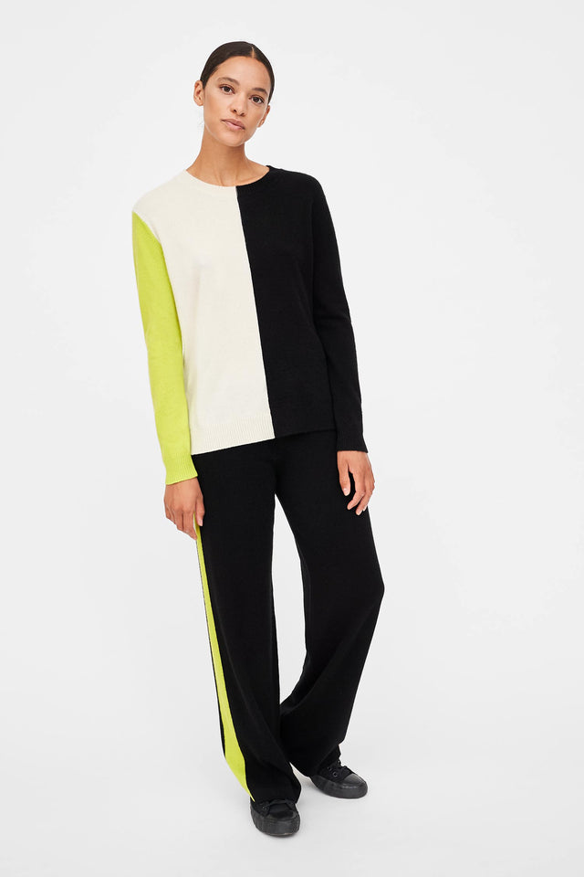 Lime Colour-Block Asymmetric Cashmere Sweater image 2