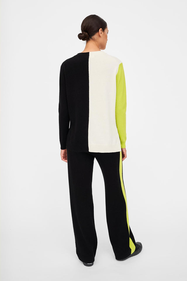 Lime Colour-Block Asymmetric Cashmere Sweater image 3