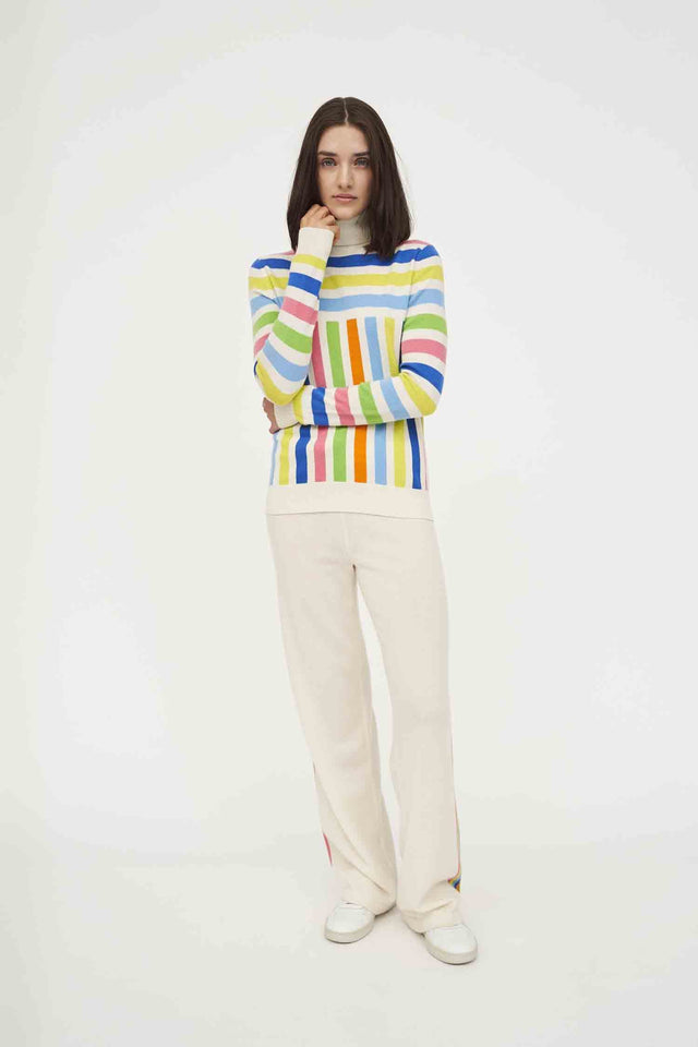 Graphic Stripe Wool-Cashmere Turtleneck Sweater image 1