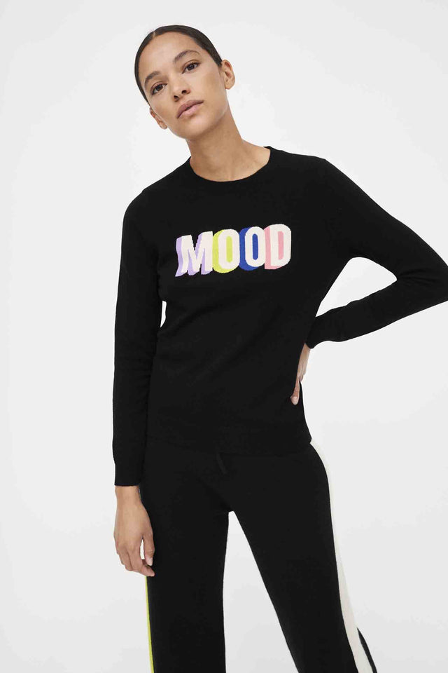 Black Mood Slogan Wool-Cashmere Sweater image 1