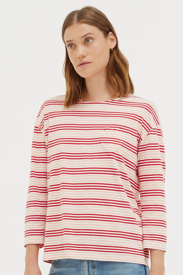 Red Striped Heart 3/4 Sleeve Shirt image 1