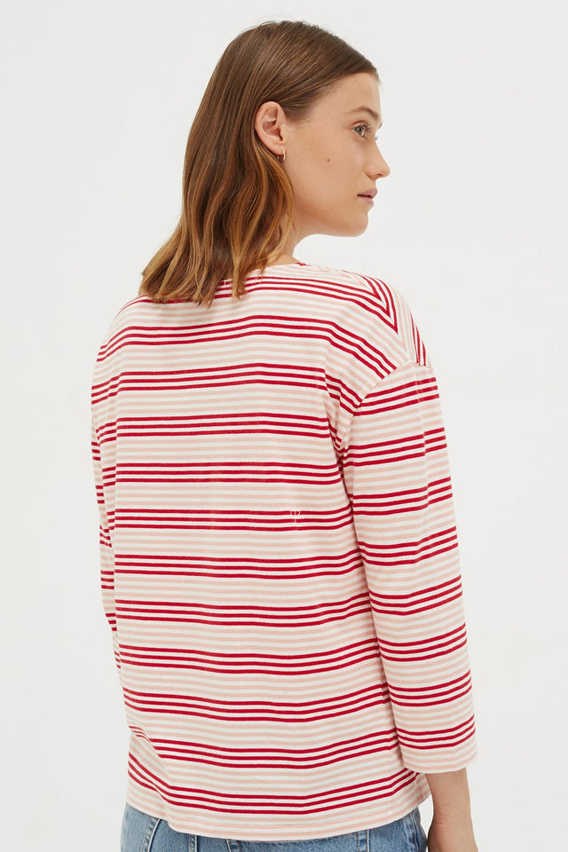 Red Striped Heart 3/4 Sleeve Shirt image 3