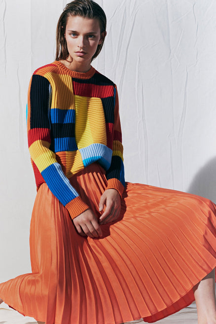 Rainbow Patchwork Rib Sweater
