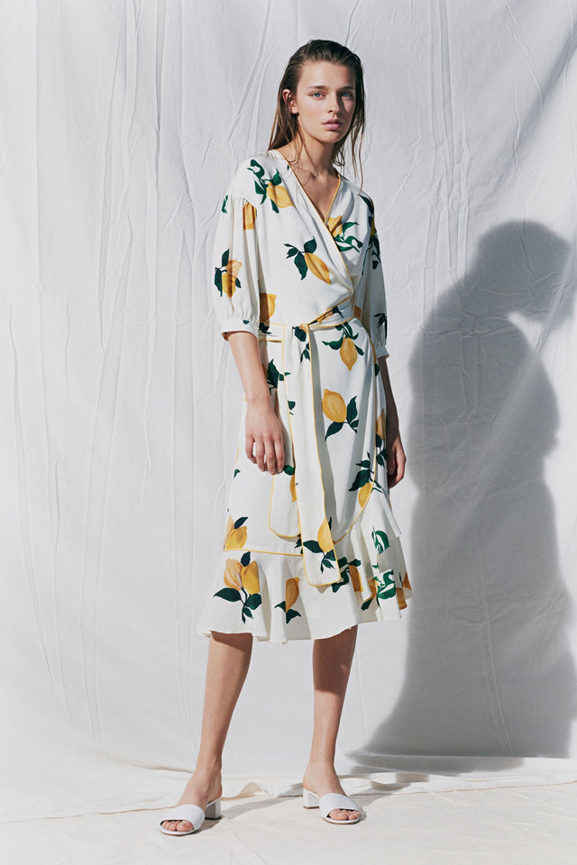 White Lemon Print Silk Wrap Dress image 3