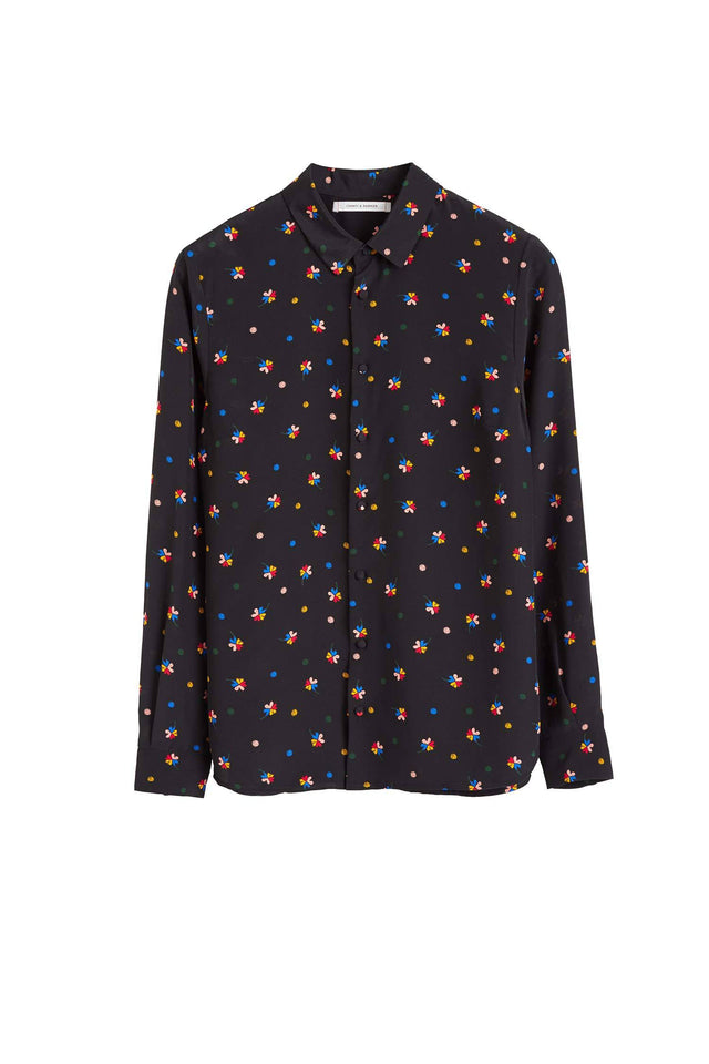 Black Lucky Clover Silk Shirt image 2