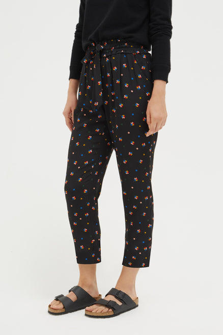Black Lucky Clover Silk Trousers