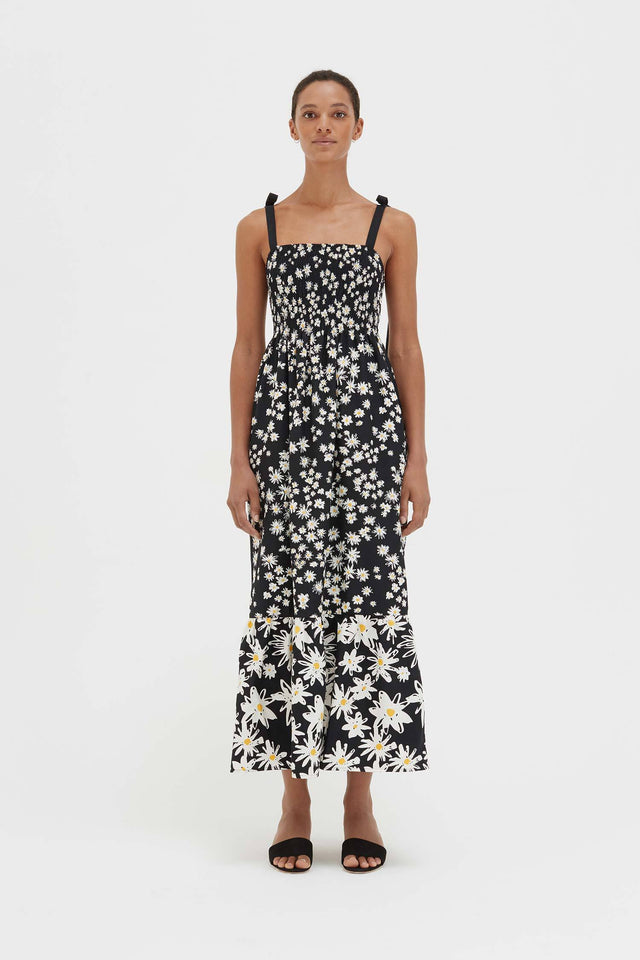 Black Cotton and Silk Floral Sun Dress image 5