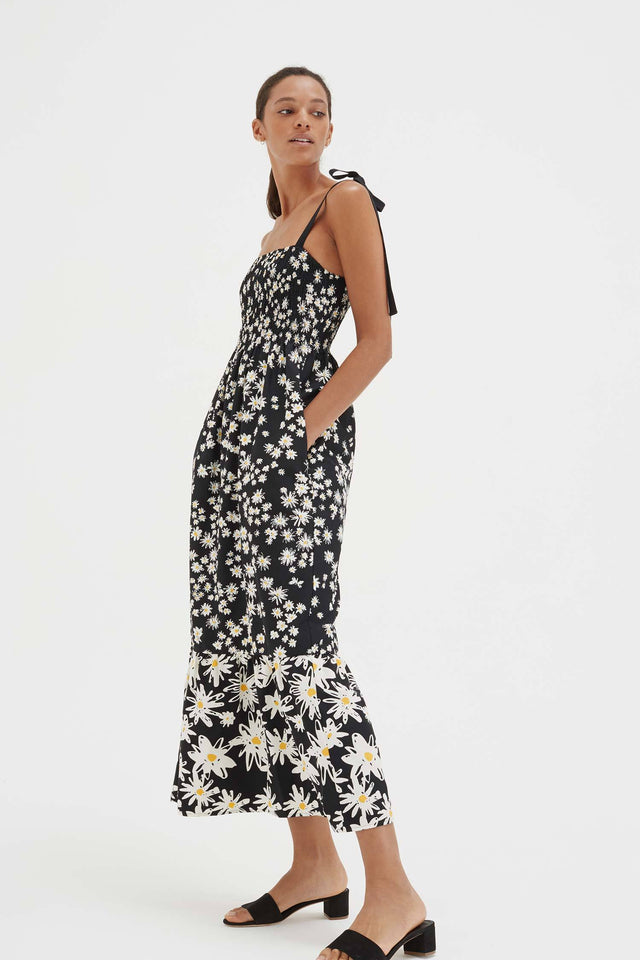 Black Cotton and Silk Floral Sun Dress image 4