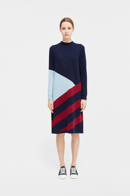 Navy Mexicano Turtle Neck Dress