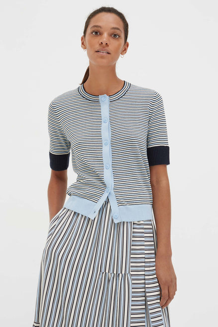 Blue Cotton Striped Summer Cardigan