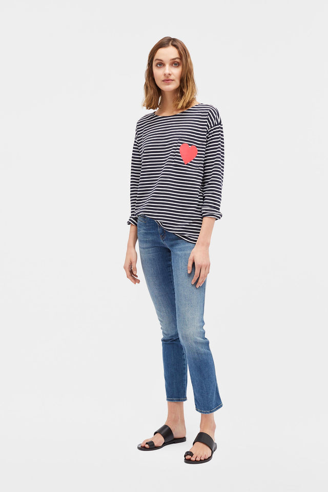 Navy with Cream Striped Breton Heart T-Shirt image 4