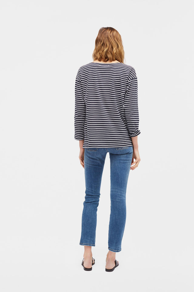 Navy with Cream Striped Breton Heart T-Shirt image 3