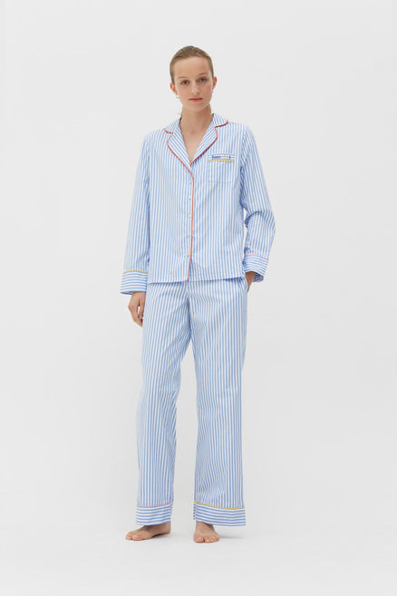 Blue-Striped Bonne Nuit Cotton Pyjama Set