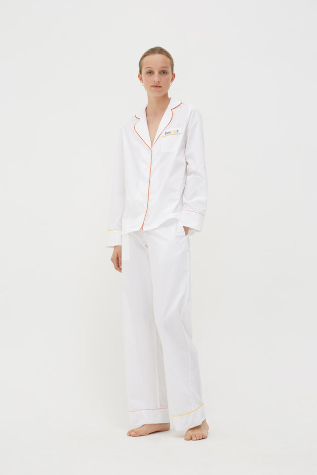 White Bonne Nuit Cotton Pyjama Set image 1