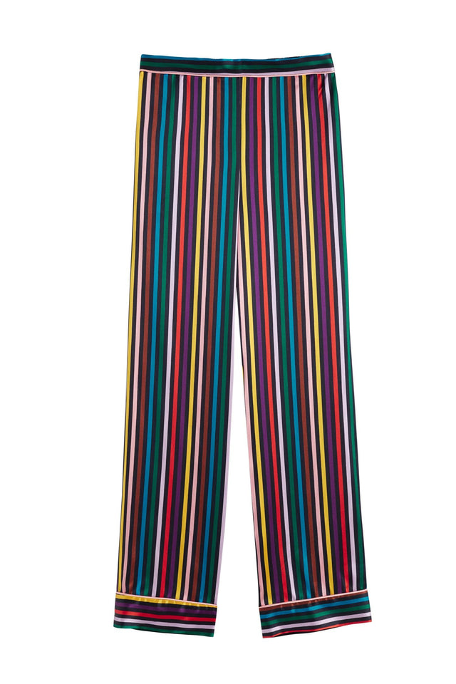 Navy Striped Silk Pyjama Set image 3