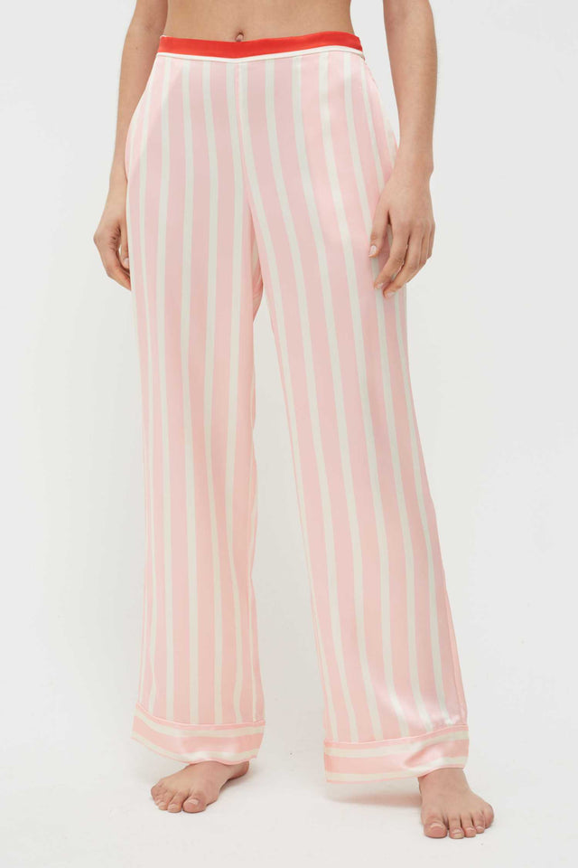 Pink Stripe Mix Silk-Satin Pyjama Set image 2