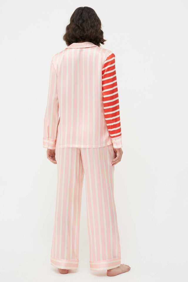 Pink Stripe Mix Silk-Satin Pyjama Set image 3