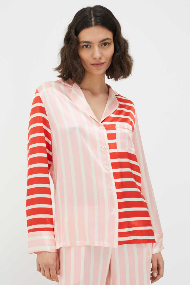 Pink Stripe Mix Silk-Satin Pyjama Set image 4