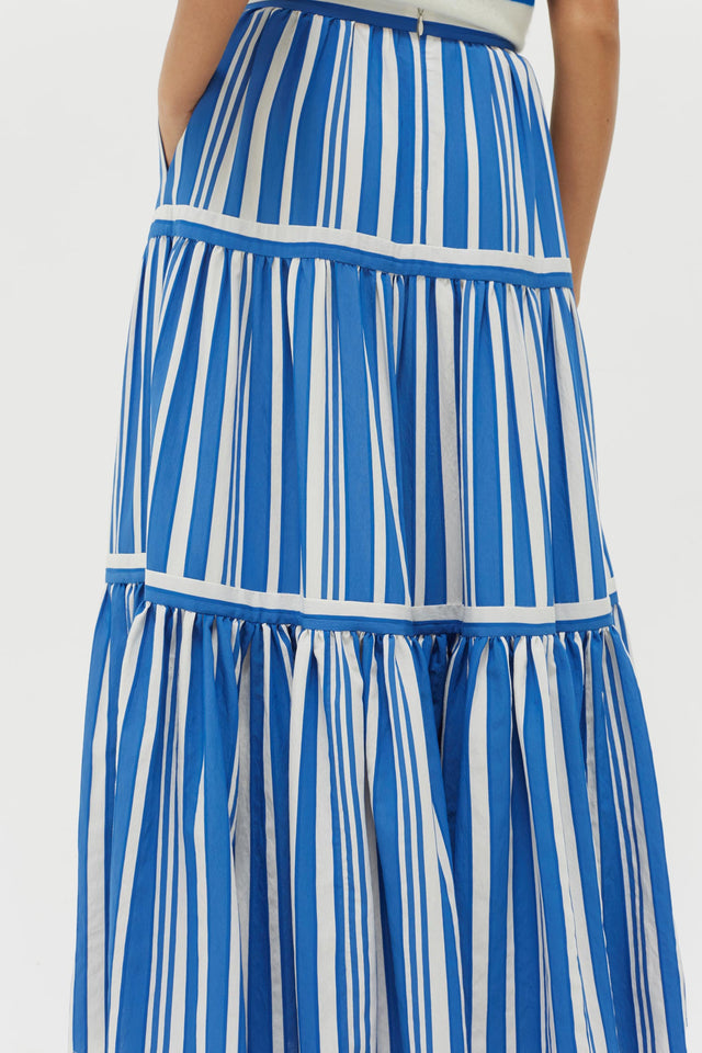 Blue Striped Parasol Tiered Maxi Skirt image 4