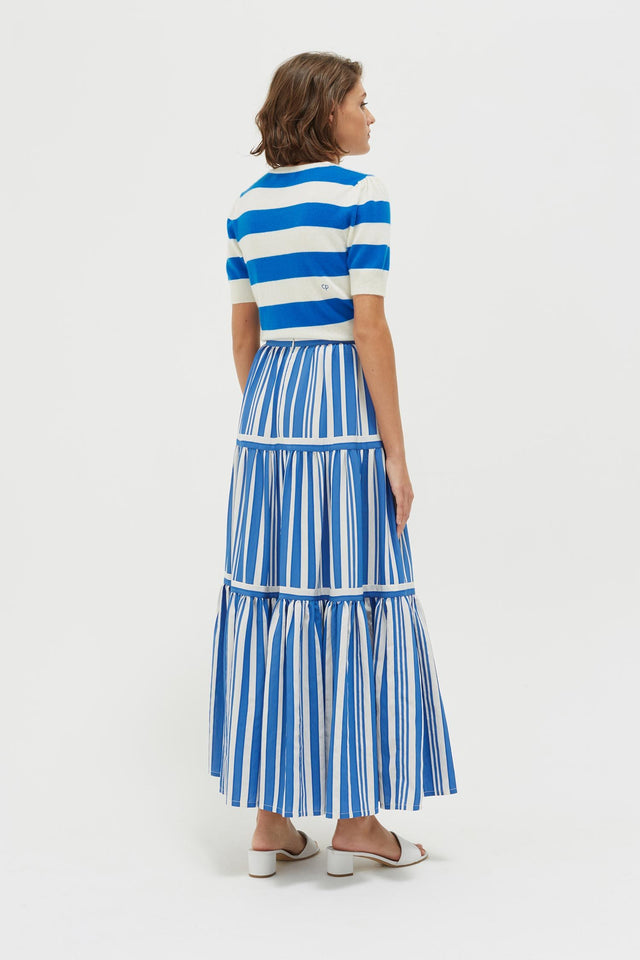 Blue Striped Parasol Tiered Maxi Skirt image 5