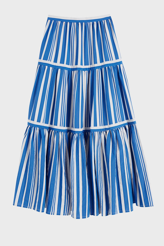 Blue Striped Parasol Tiered Maxi Skirt image 2