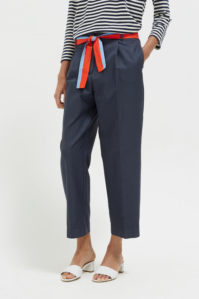 Navy Tie Waist Cotton-Silk Trousers image 1
