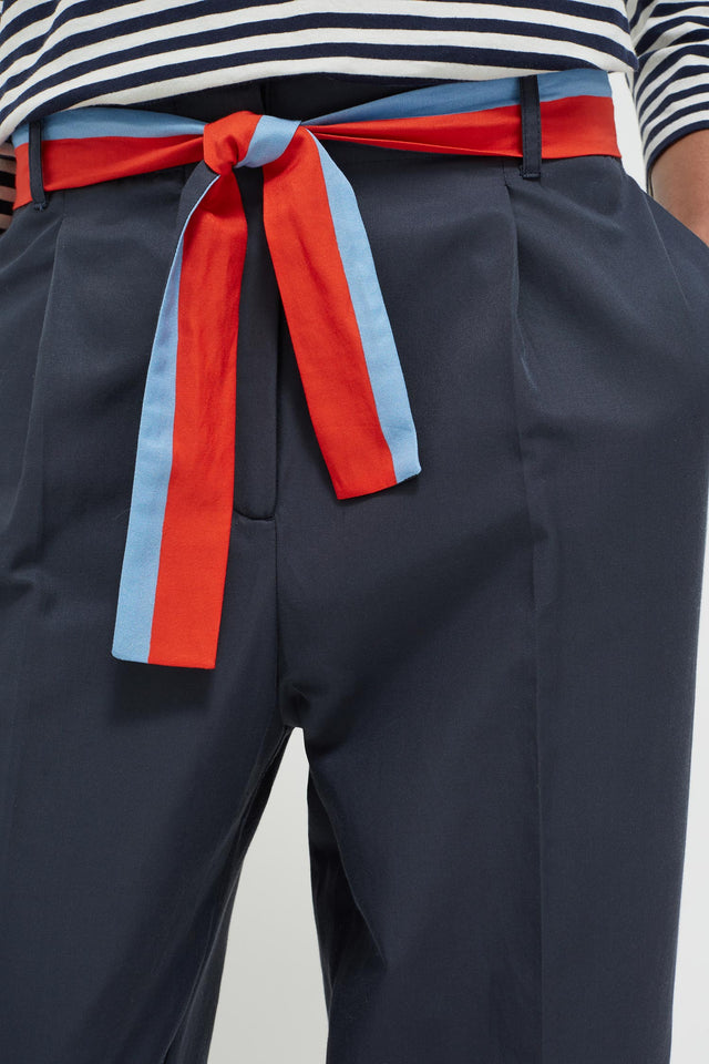 Navy Tie Waist Cotton-Silk Trousers image 4