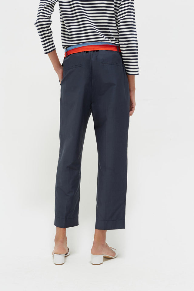 Navy Tie Waist Cotton-Silk Trousers image 5
