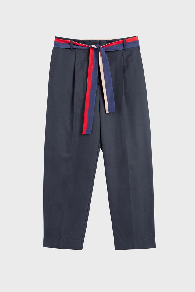 Navy Tie Waist Cotton-Silk Trousers image 2