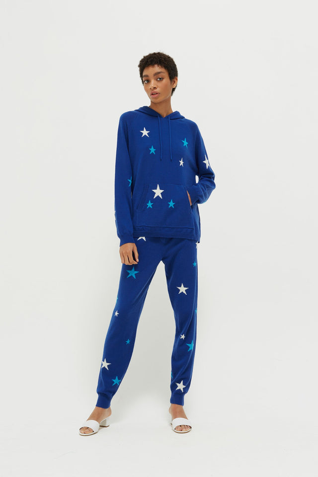 Blue Tonal Star Cashmere Hoodie image 4