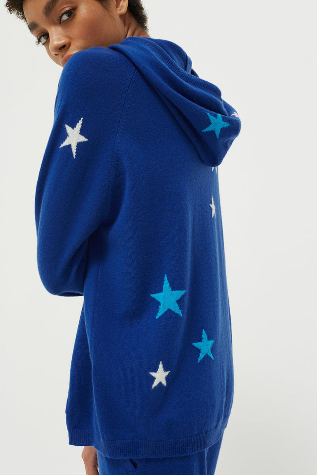 Blue Tonal Star Cashmere Hoodie image 5