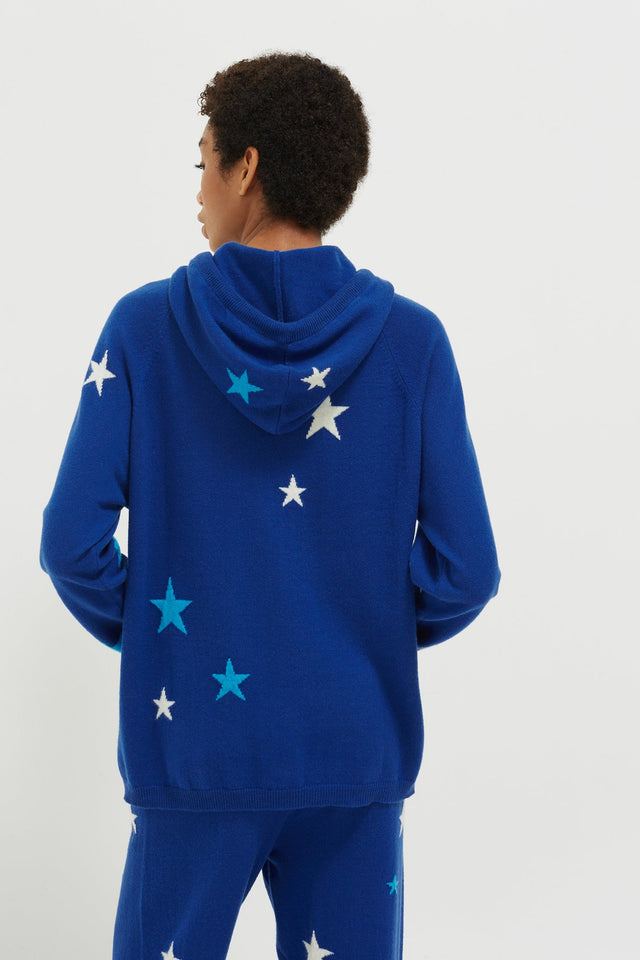 Blue Tonal Star Cashmere Hoodie image 3