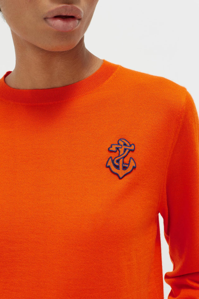 Orange Anchor Badge Cashmere Sweater image 4