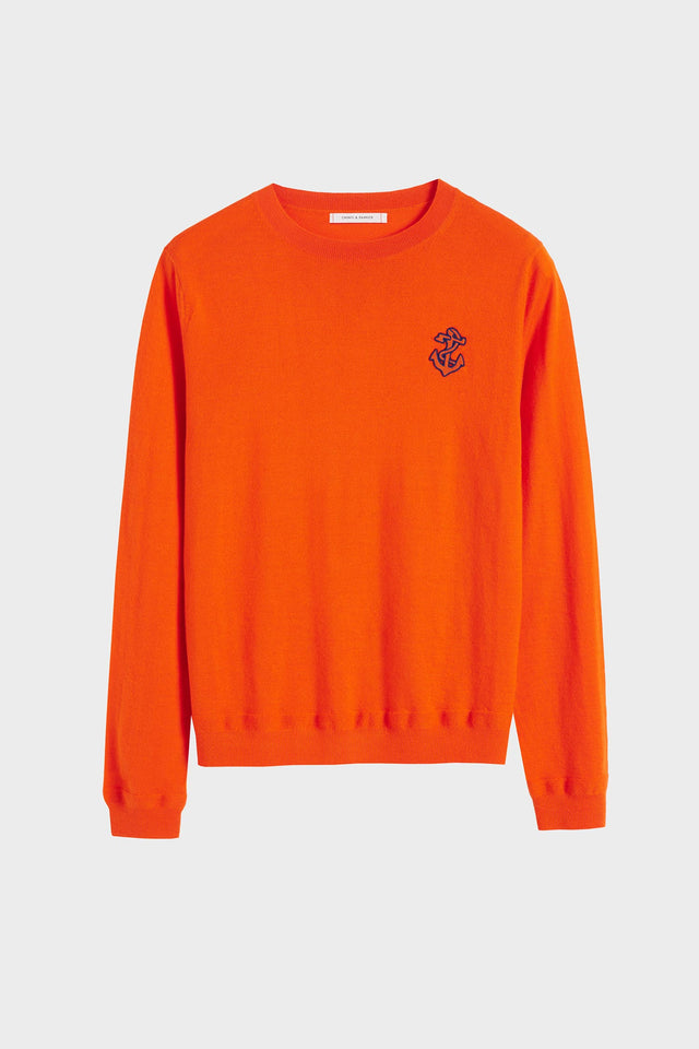 Orange Anchor Badge Cashmere Sweater image 2
