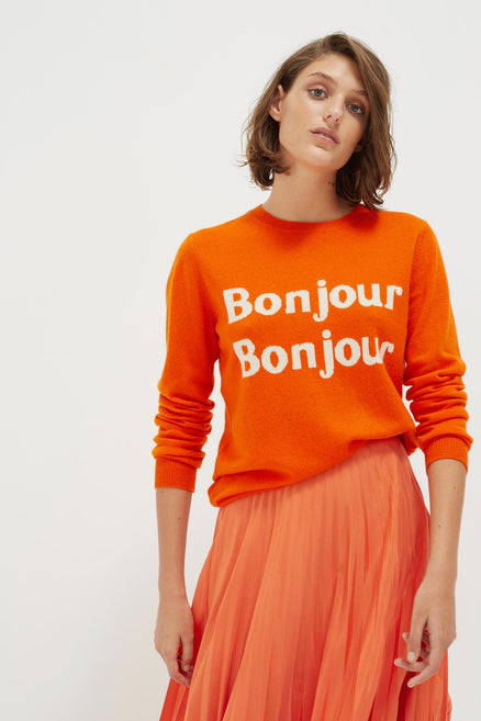 Orange Bonjour Bonjour Cashmere-Wool Sweater