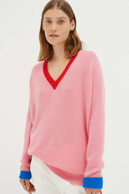 Pink Colour Block Sweater