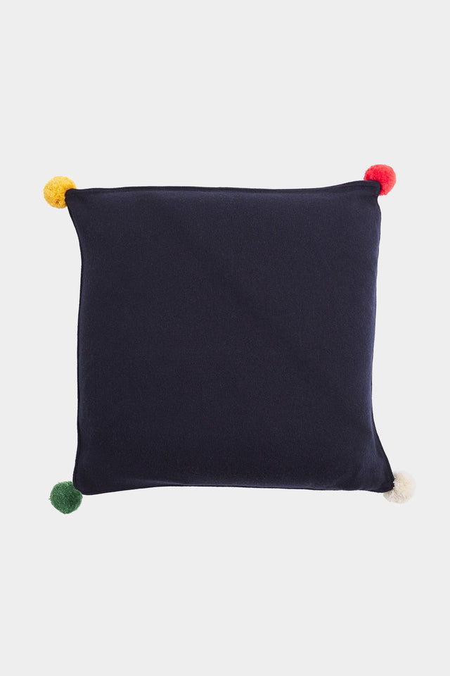 Navy Pom-Pom Cashmere Cushion Cover image 1