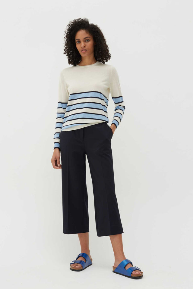 Navy Wool-Twill Cropped Trousers image 2