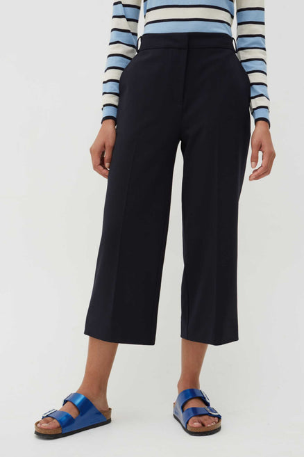 navy wool twill cropped trousers Navy trousers,cropped fit,straight leg pair for day or night. from Chinti & Parker